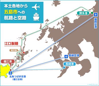 飛行機は福岡空港・長崎空港の2ヶ所から五島つばき空港に就航しています。空港からは福江港に移動して上五島へ船で移動となります。また、福江港へ船で行く場合は博多港と長崎港の2箇所からアクセスできます。